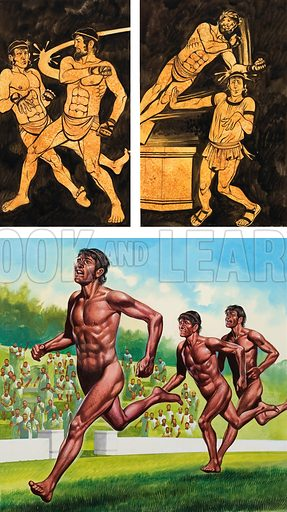 Olympic Games. Top picture shows a boxer who had pounded the image of his rival until it toppled from its pedestal. The lower picture shows the first victor, a man called Coroebus who won a foot race of about 200 yards in 776BC. Original artwork for illustration on p25 of Look and Learn issue no 544 (17 June 1972).