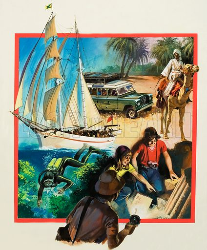Adventure of a Life Time - advertisement for a competition to win a holiday in the Sudan.  Original artwork for cover of Look and Learn issue no 933 (8 December 1979).