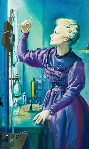 Madame Curie.  Original artwork for illustration in Look and Learn (issue yet to be identified).