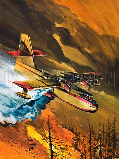 Flying Fire-Fighters.  Original artwork for cover of Look and Learn issue no 757 (17 July 1976).