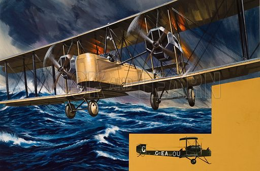 Vimys Over the Waves.  In June 1919 two young Airforce pilots became the first men to fly across the Atlantic when their Vickers Vimy converted bomber made the journey from Newfoundland to Ireland in a little under 16 hours.  Original artwork for illustration on pp20-21 of Look and Learn issue no 750 (29 May 1976).