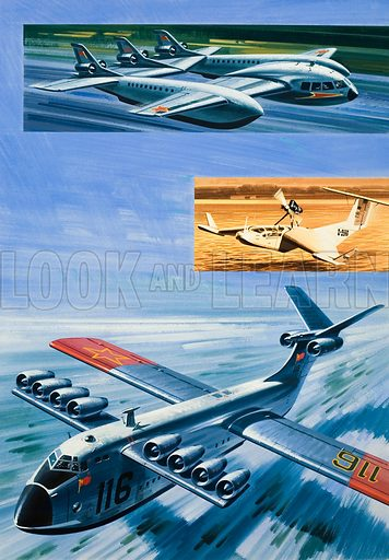 Unidentified Aircraft.  Original artwork for Look and Learn (issue or book yet to be identified).