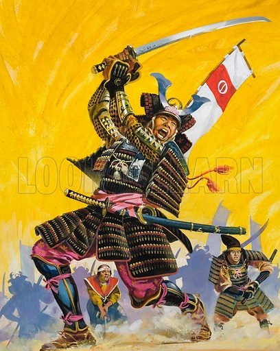 Japanese samurai warriors. Original artwork for Look and Learn (issue yet to be identified).