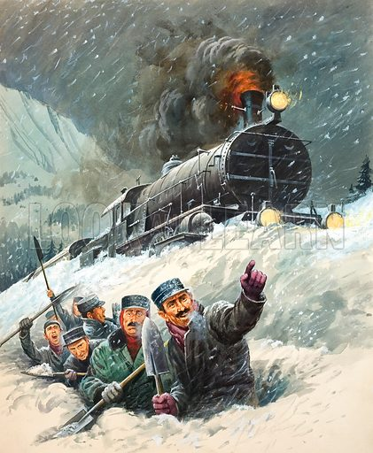 Snowbound Express.  Original artwork for illustration on p32 of Look and Learn issue no 363 (28 December 1968).