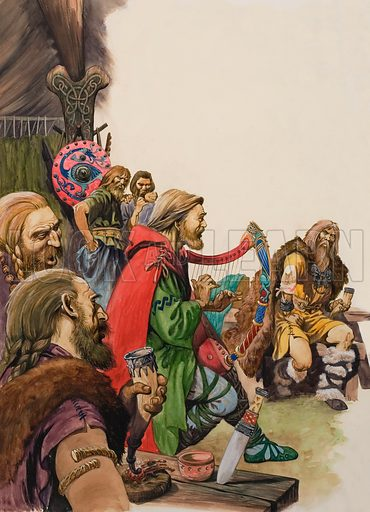 Alfred disguised as a minstrel in the camp of King Guthrum. Original artwork for illustration on p16 of Treasure issue no 27 (20 July 1963).
