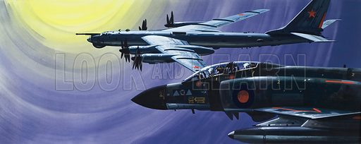 "Electronic Battle.  High up and far out over the North Sea, an RAF Phantom of Strike Command pulls in close to a Russian Tupolev Tu-95D reconnaissance aircraft with the NATO code-name of ""Bear"".  Original artwork for illustration on pp10-11 of Look and Learn issue no 626 (12 January 1974)."