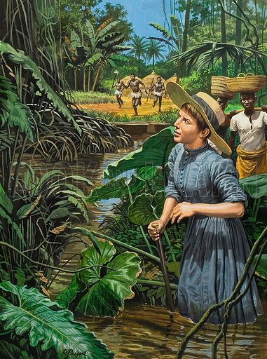 Unidentified Female Explorer in Africa.  Original artwork for illustration in Look and Learn (issue yet to be identified).