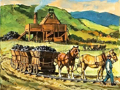 Mining horses pulling coal loads. Illustration by Harry Green
