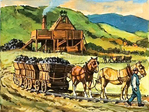 Antecedent of the railways. Long before steam engines were introduced, horse-drawn trucks running on rails were used at many collieries.