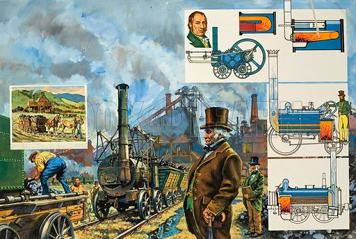 Puffing Billy, a colliery locomotive built by engineer William Hedley, assisted by Timothy Hackworth, who later took part in the Rainhill trials for the LIverpool and Manchester Railway. Left inset shows how, long before steam engines were introduced, horse-drawn trucks running on rails were used at many collieries. Original artwork for illustration on pp16–17 of Look and Learn issue no 968 (27 September 1980).