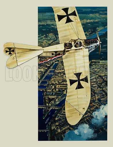 The First Bomber.  Late in the afternoon of 30 August 1914, a Rumpler Taube, or Dove, dropped a few bombs on Paris.  Original artwork for illustration on pp20-21 of Look and Learn issue no 739 (13 March 1976).