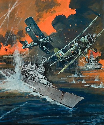 Naval Battle.  Original artwork for Look and Learn (issue yet to be identified).