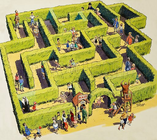 Maze, showing families lost.  Original artwork for cover of Treasure issue no 14 (20 April 1963).