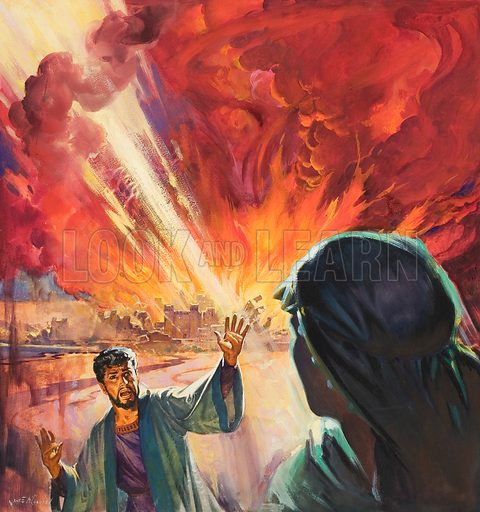 Destruction of Sodom and Gomorah. Original artwork for cover of The Bible Story issue no 11.