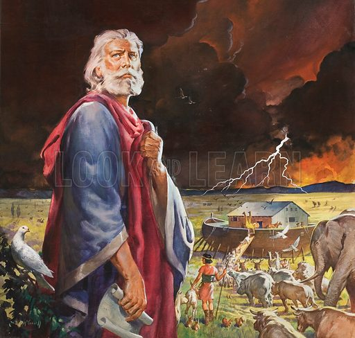 Noah's Ark before the onset of the Flood. Original artwork for cover of The Bible Story issue no 2.