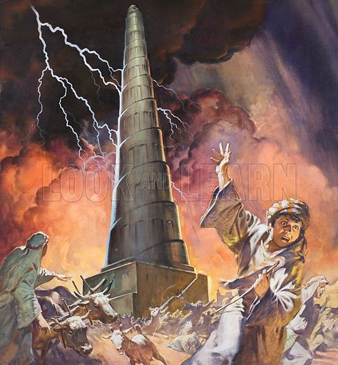 Tower of Babel. Original artwork for cover of The Bible Story issue no 5.