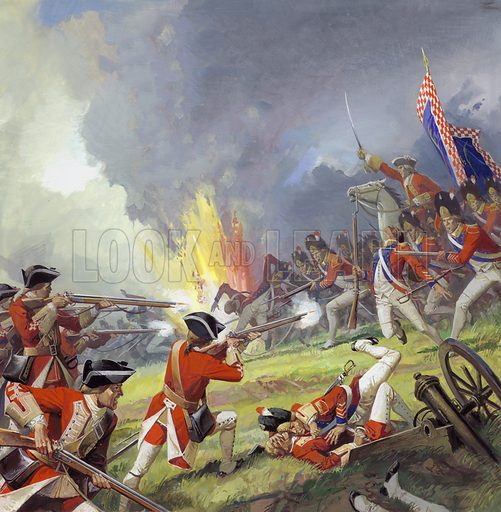 Battle of Fontenoy, in which the Irish Brigade of the French army distinguished themselves in fighting the hated English.