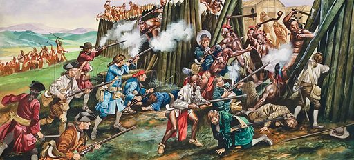 Storming of the Tuscarora Fort Neoheroka by English colonists and their Native American allies, North Carolina, 1713. Original artwork for illustration on pp20–21 of Look and Learn issue no 473 (6 February 1971).