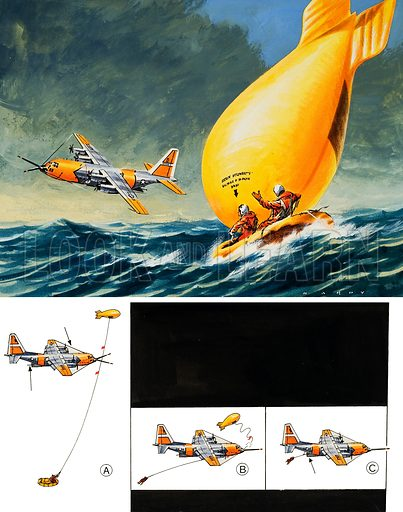 Air-Sea Rescue Device.  Original artwork for illustration on p21 of Look and Learn issue no 293 (26 August 1967).