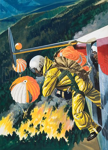 Parachutists.  Original artwork for illustration in Look and Learn (issue yet to be identified).