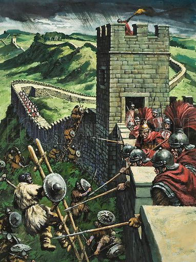 Hadrian's Wall.  The wall proved to be an impregnable barrier.  For the first time, the Scots were trapped in their own wild country and the Romans and Britons could go about their business in safety.  Original artwork for illustration on p25 of Look and Learn issue no 848 (15 April 1978).