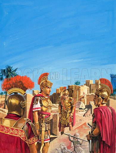 Romans admiring Remnants of the Golden Age of Babylon. Original artwork for illustration in Look and Learn (issue yet to be identified).
