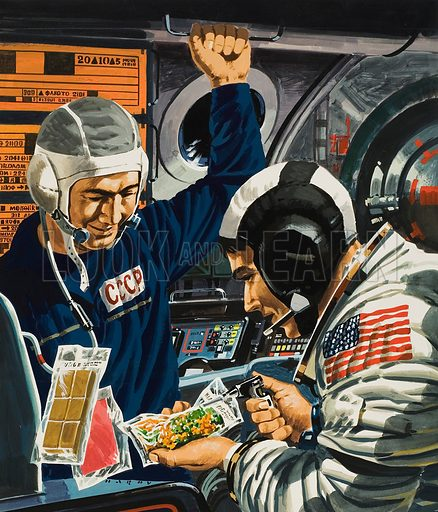 Dinner in Space.  Illustration done in anticipation of space craft from America and Russia locking together in earth orbit in 1975.  Original artwork for cover of Look and Learn issue no 537 (29 April 1972).