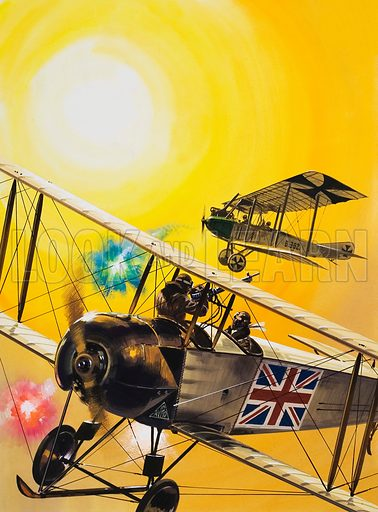 Unidentified Aviation Scene. Original artwork for illustration in Look and Learn (issue yet to be identified).