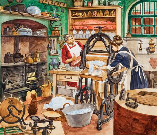 Nineteenth Century Kitchen. Original artwork for illustration in Treasure (issue yet to be identified).