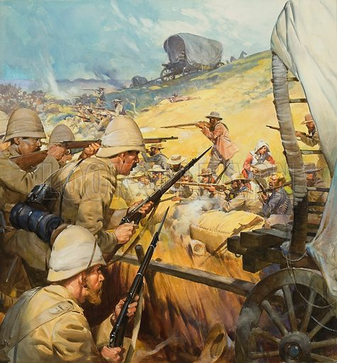 Skirmish between British soldiers and Boers during the Boer War, South Africa, 1899–1902. Original artwork for cover of Look and Learn issue no 648 (15 June 1974).
