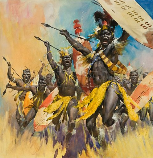 Zulu Warriors.  Original artwork for cover of Look and Learn issue no 650 (29 June 1974).