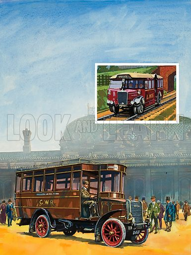 "Buses and the Railways. Even before the First World War, the Great Western had introduced buses to provide ""feeder"" services to some stations. One is shown here, picking up commuters at Slough. The inset shows a 1930 LMS""Ro-Railer"" capable of running on road or rail. Original artwork for illustration on p15 of Look and Learn issue no 973 (1 November 1980)."