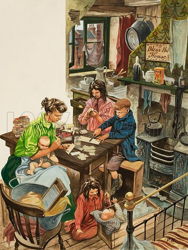 Making Match-boxes.  In the evenings the Children of the Victorian poor returned from school to play their part in making match-boxes, one of the many forms of sweated labour which existed in Victorian times.  Original artwork for illustration on p25 of Look and Learn issue no 552 (12 August 1972).