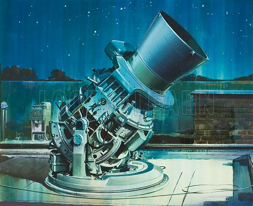 Telescope.  Original artwork for illustration in Look and Learn (issue yet to be identified).
