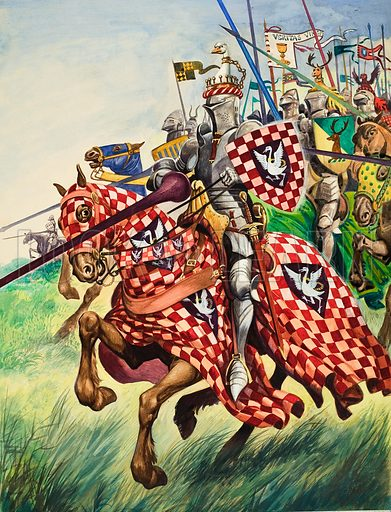 Knights charging into battle protected from head to foot by their strong suits of armour.  Original artwork for illustration on p21 of Treasure issue no 115.
