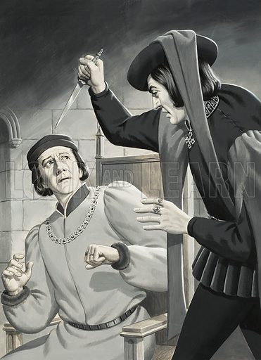 Richard III (to be) about to kill Henry VI.  Original artwork for illustration on p9 of Look and Learn issue no 592 (19 May 1973).