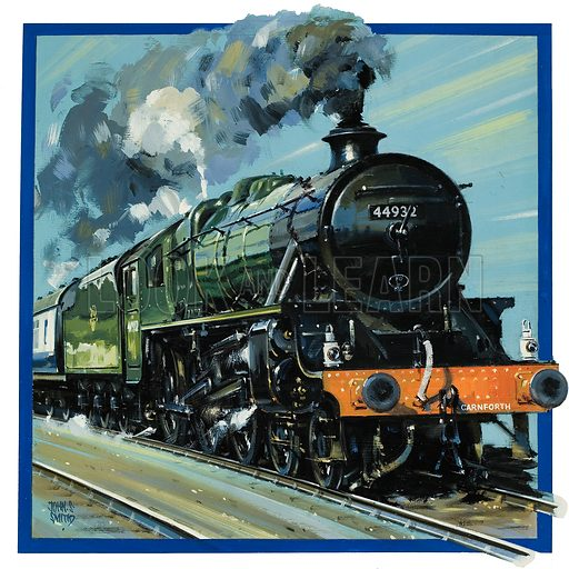 Railway Locomotive.  Original artwork for cover of Look and Learn issue no 846 (1 April 1978).