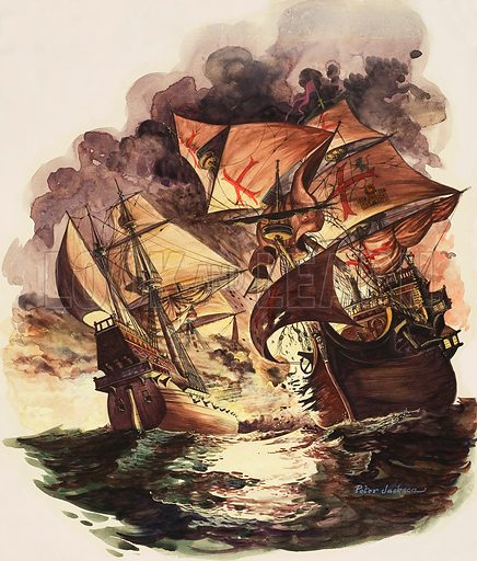 The Spanish Armada, 1588 As the Spanish ships drift helplessly, the English ships fire broadsides at them. Original artwork for illustration on p19 of Treasure issue no 95 (7 November 1964).