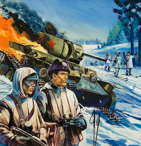 Skirmishes in the Snow, as the Russians move into Finland in 1939.  Original artwork for cover of Look and Learn issue no 649 (22 June 1974).
