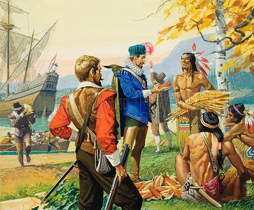 English explorer Henry Hudson trading with Native Americans during one of his expeditions to North America, 1607–1611. During his explorations, Hudson often took the opportunity to trade with local people. He found the Indians always ready to barter, as they were when he sailed into the Hudson River. Original artwork for illustration on p10 of Look and Learn issue no 855 (3 June 1978).