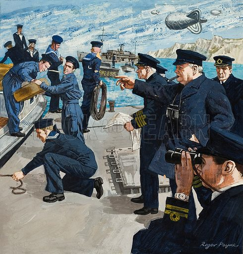 Churchill in Naval Scene.  Original artwork for Look and Learn (issue yet to be identified).