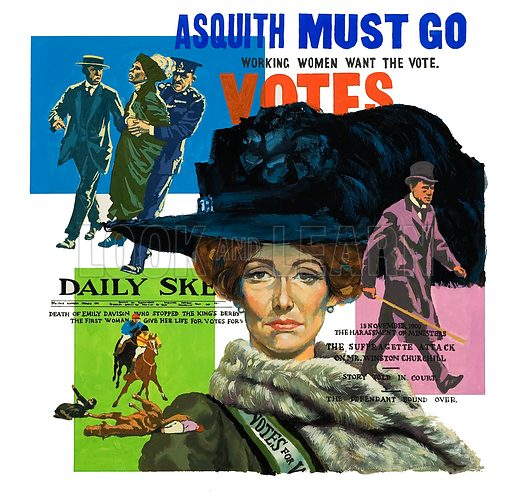 Suffragettes montage, picture, image, illustration