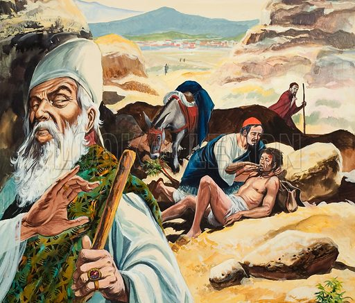 The Good Samaritan, showing the Levite passing on the other side.  Original artwork for illustration on p16 of The Bible Story issue no 8.