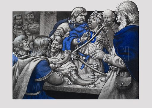 Feasting.  Feasting was always a popular pastime amongst the nobles - but there were exceptions.  At his coronation banquet, for example, King Eadwig preferred to join his friends and had to be forcibly dragged back to the tables for the main purpose of the evening.  Original artwork for illustration on p22 of Look and Learn issue no 706 (26 July 1975).