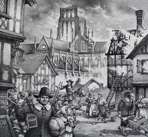 Great Fire of London.  Both the Duke of York (pictured here) and King Charles II himself took an active part in fighting the Great Fire.  But they could not prevent the destruction of a large part of the city - including old St Paul's Cathedral, seen blazing in the background.  Original artwork for illustration on p22 of Look and Learn issue no 765 (11 Sept 1976).