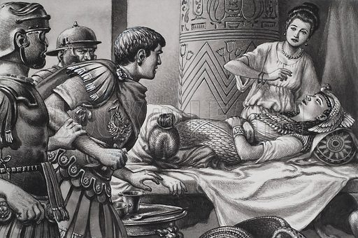 Death of Cleopatra.  The Roman officers burst into the mausoleum only to find Cleopatra already dead, dressed in the formal robes as the Queen of Egypt.  Her two favourite maid servants were with her, one dead and the other dying.  Original artwork for illustration on p24 of Look and Learn issue no 734 (7 February 1976).