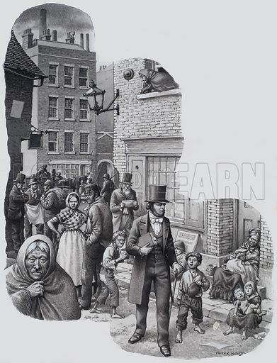 William Booth and the Salvation Army. On and on he walked, a tall, black-coated figure, appalled at the sights which met his eyes everywhere he looked. Original artwork for illustration on p16 of Look and Learn issue no 654 (27 July 1974).