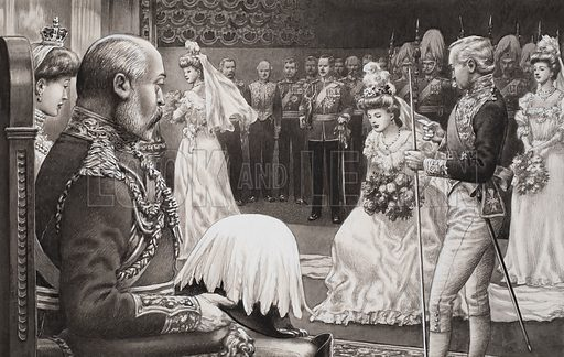 Debutantes being present to Edward VII and Queen Alexandra.  Original artwork for illustration on p5 of Look and Learn issue no 511 (30 October 1971).