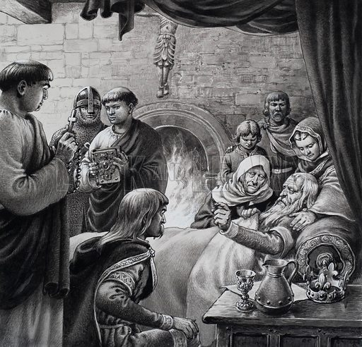 Death of Edward the Confessor.  When Edward the Confessor died in 1066, Harold, son of Godwin, grabbed the throne of England, although Edward had previously nominated William of Normandy as his successor.  Original artwork for illustration on p22 of Look and Learn issue no 761 (14 August 1976).