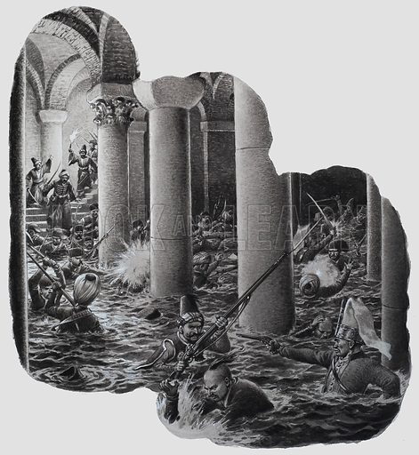 End of the Janissaries. They were wiped out in a macabre battle in an underground reservoir. Original artwork for illustration (in blue) on p12 of Look and Learn issue no 692 (19 April 1975).